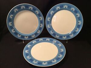 """Lot 3 Mikasa Japan 4046-BL """"Wendy"""" Blue & White 10 5/8"""" Dinner Plate - Excellent"""