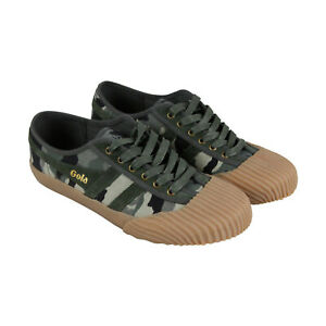 Gola-Monarch-CMA208-Mens-Green-Canvas-Retro-Lace-Up-Low-Top-Sneakers-Shoes