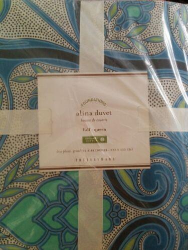Pottery Barn Alina Organic Cotton Full Queen Duvet Cover Blue Green NWT