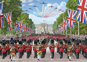 Gibsons-Jigsaw-Puzzle-TROOPING-THE-COLOUR-Great-Britain-England-1000-Pieces