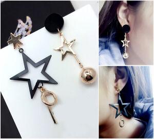 Asymmetric-Star-ball-pendant-Drop-Dangle-earrings-black-gold-silver-UK