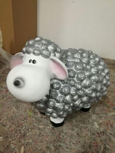 Lustiges Deko Schaf bunt Lamm silber  Tierfigur Gartenfigur Tier