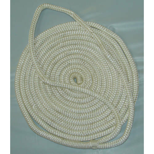 3//8 Inch x 15 Ft White Double Braid Nylon Mooring and Docking Line for Boats