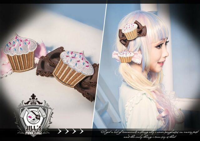 lolita fairy spank cartoon fantasy choco sprinkle Cup cake ribbon bow hair clip