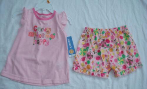 "New w//Tags Carter/'s 2 Piece Sleepwear Pajama/'s /""Candy Makes Me Happy/"" Size 3T"