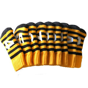 Iron Golf Club Head Covers Knit Socks Style Headcovers Cover Yellow Gift Ebay