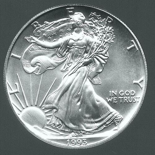 1993 GEM BU AMERICAN SILVER EAGLE DOLLAR US COINS