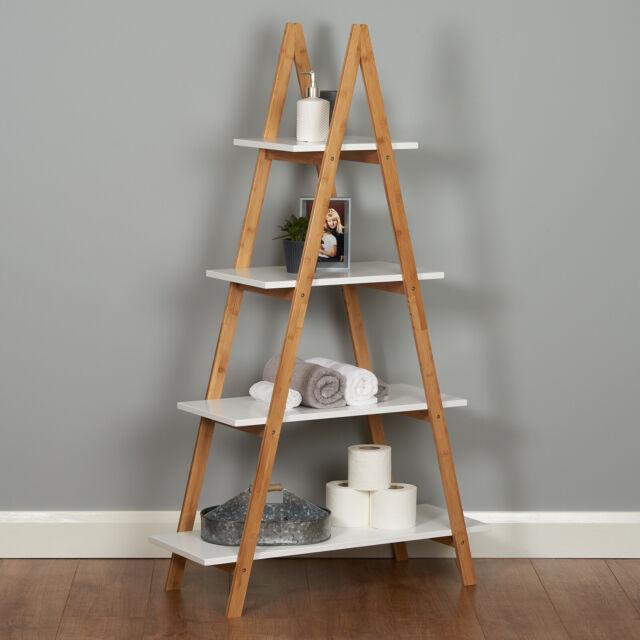 White Bathroom Ladder Shelf Unit – Doubletcattle.com