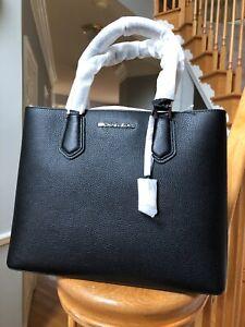 NWT-Michael-Kors-Adele-Black-LG-Satchel-Large-leather-handbag-368