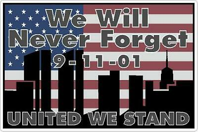 9-11 Tribute Vinyl Decal Never Forget September 11th Sticker