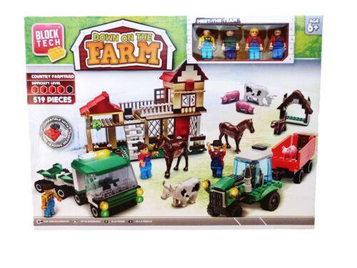 Children/'s Construction Block Tech Down On The Farm Country Farmyard 519 Pieces