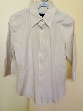 ♥ Padini White Stripes ¾ Sleeves Fitted Shirt M ♥