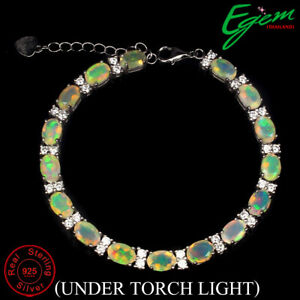 Unheated-Oval-Fire-Opal-Full-Flash-7x5mm-925-Sterling-Silver-Bracelet-7-5-Inches