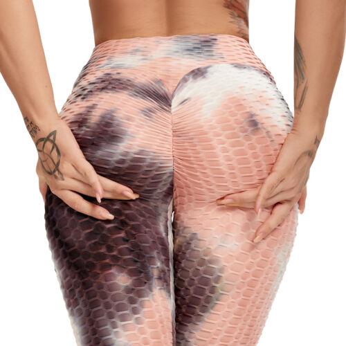 Womens Yoga Gym Anti-Cellulite Tie dye Leggings High Waist Fitness Elastic Pants
