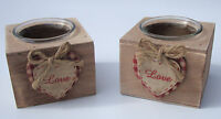 SHABBY CHIC WOOD + GLASS HOLDERS GINGHAM HEART TLIGHT PAIR - WEDDING TABLE DECOR