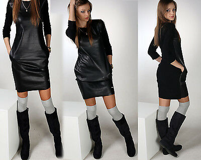 New Ladies Sexy Dress Faux Leather Sports Party Festive S L