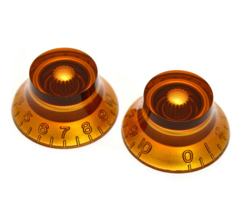 Amber Bell Knobs for Import Guitar//Bass w//Coarse 6mm Split Pots PK-MBI-A 2