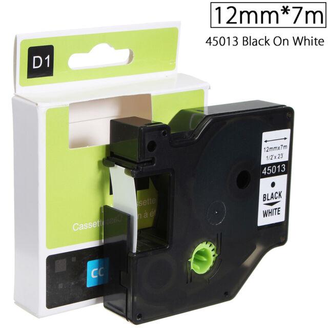 12mmx7m Ruban Bande Etiquette Plastique Label Pour Dymo D1 45013 Noir Sur blanc