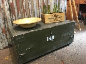 Vintage Army Trunk Chest Box Coffee Table Toy Storage Rustic Shoe