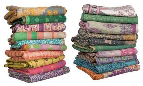 Wholesale lot Vintage Reversible Indian Handmade Kantha Quilt Bedspread Cotton
