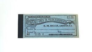 Antique-Ticket-Coupons-Tickets-Ephemera-KM-Biggs-Department-Store-Lumberton-NC