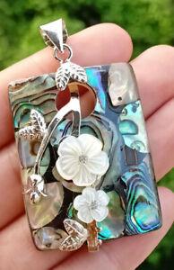 Natural-Abalone-Shell-Fleur-Pendentif-energie-Reiki-guerison-Amulette