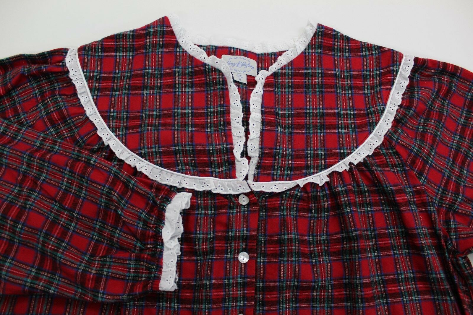 Lanz of Salzburg Flannel Nightgown Red Plaid Tyrolean Small  TO19