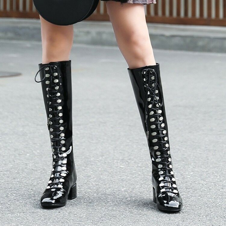 Womens Shiny Patent Leather Lace Up Cuban Heel Knee High Boots Sexy Party shoes