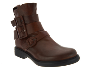 Miz Mooz Leather Triple Buckle Ankle Boot Booties Casper Brandy 10.5-11 EU42