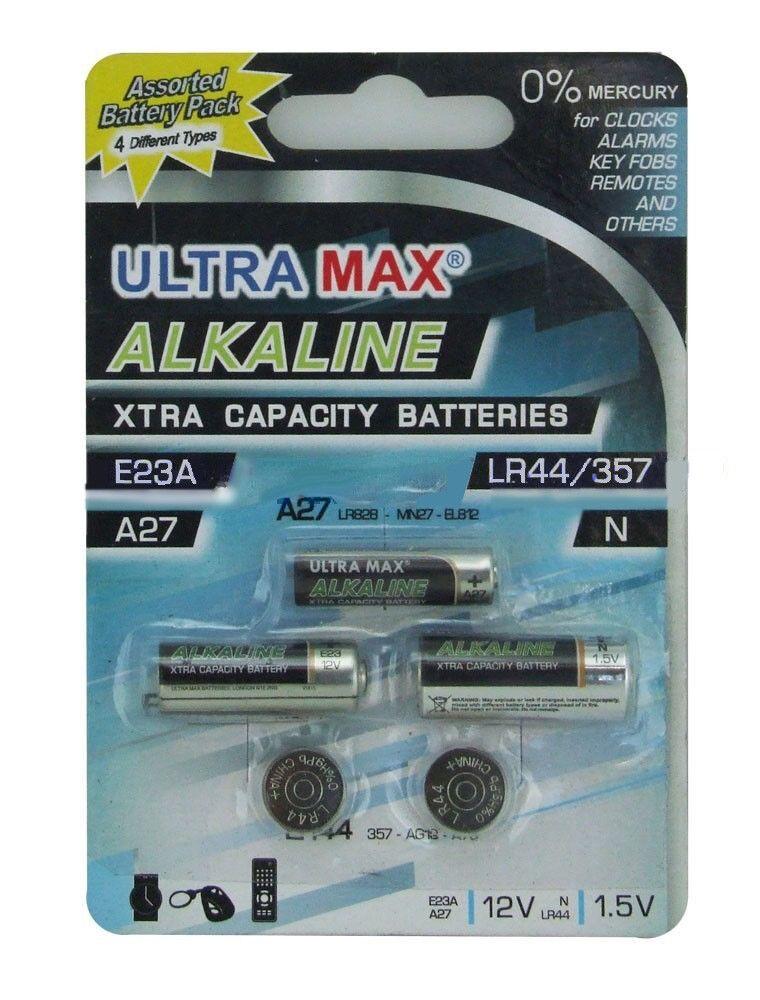 1x Ultra Max Alkaline Extra Capacity Batteries E23A, A27, N, LR44, 12V & 1.5V