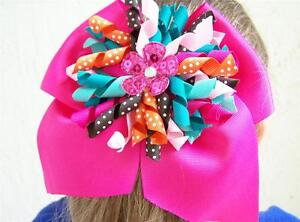 "NEW Custom ""ELLIE GROUP"" bOuTiQuE Pink, Aqua, Orange Hair Bow M2M JELLY THE PUG"