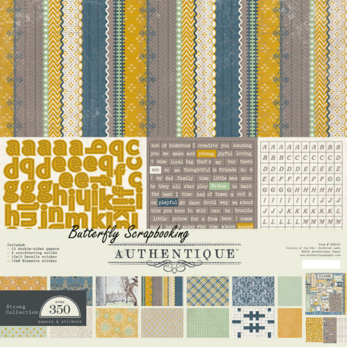 Strong Collection Men/& Boy 12x12 Scrapbooking Paper Crafting Kit Authentique NEW