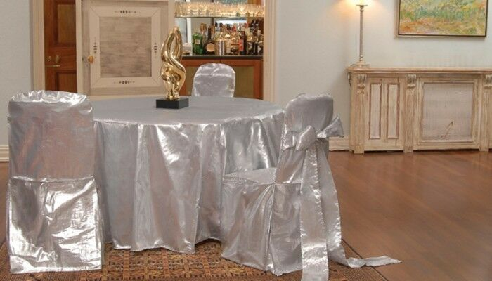 12 Tissue Lame Tablecloths 120  Round 5ft Table Cover or Overlays Wedding Linens