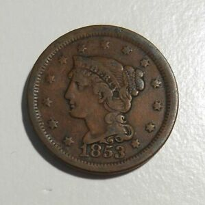 1853-Braided-Hair-Large-Cent-1c-circulated-U-S-coin