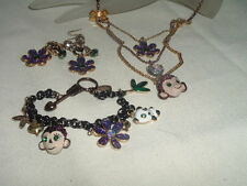 Vintage Betsy Johnson Monkey Panda Necklace Bracelet and Earrings Set