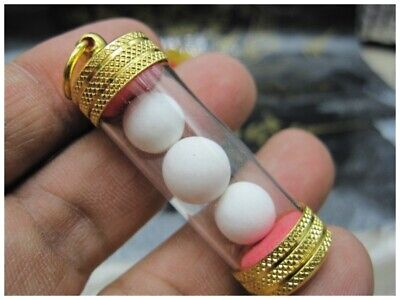 ARAHAN RELIC WHITE LEKLAI CAVE PEARL POWER WEALTH LUCKY CHARMS MONEY THAI AMULET