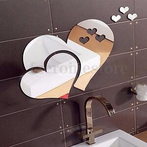 Herz spiegel wandtattoo wanddeko wandsticker aufkleber design bad haus wand deko ebay - Spiegel wanddeko ...