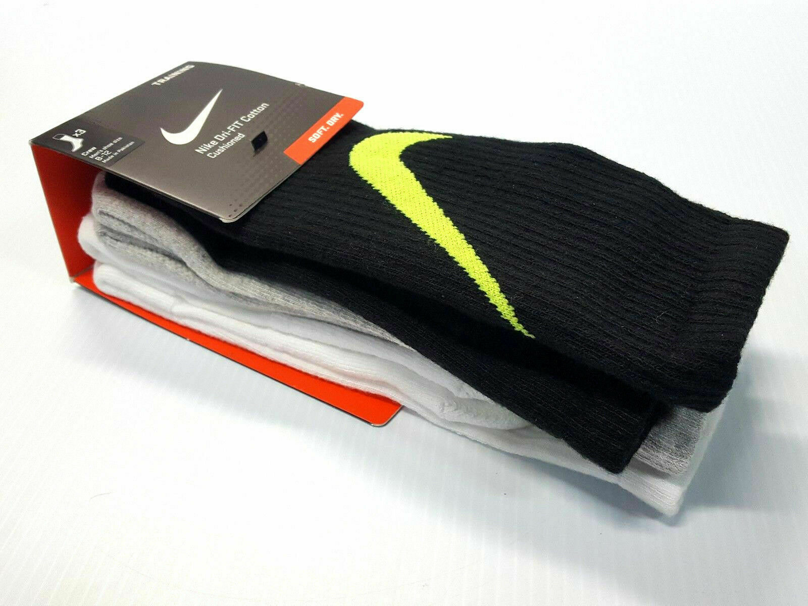 bb606cee0525c Nike Swoosh HBR Crew Socks Sx4950 3 Pair Was 8-12 Men