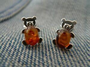 100% QualitäT Teddybär Baltischer Bernstein 925er Silber Ohrringe Silverandsoul Schmuck Attraktiv Und Langlebig