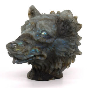 Wolf-Head-Bust-Healing-Natural-Gemstone-Labradorite-Carved-Stone-Ornament-Statue