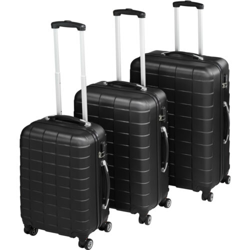 ABS Valigia da viaggio 3er Set Trolley Valigie Valigia Rigida Guscio Duro Nero