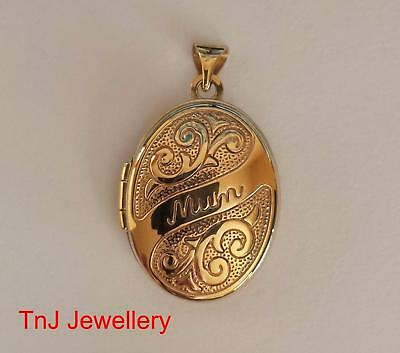 """NEW Genuine Solid  9ct 9k Yellow Gold """"Mum"""" Scroll Embossed Photo Locket Mother"""