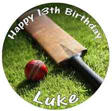 Cricket Bat And Ball Personalised Cake Topper Edible Wafer Paper 7.5""