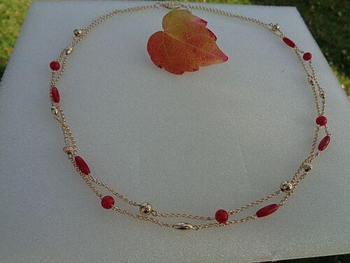 zweireihig 585 Gold filled Cadena de oro con rojo coral