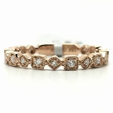 18k Rose Gold Diamond Vintage Design Band Ring April Birthstone