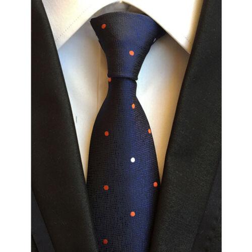 Men Orange White Polka Dots Silk Tie Handkerchief Pocket Square Set Lot HZBWT110