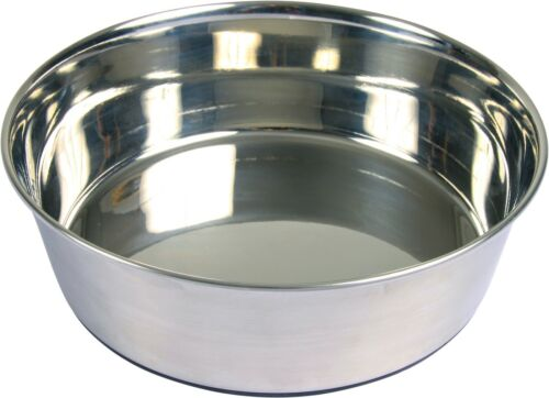 Trixie Calidad Acero Inoxidable Tazón de fuente de agua o alimentos para perros con base de goma 4 Tamaños