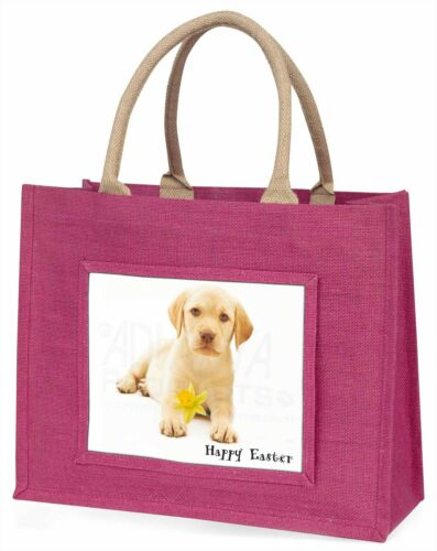 'Happy Easter' Goldie Puppy Large Pink Shopping Bag Christmas Prese, ADL4DA1BLP