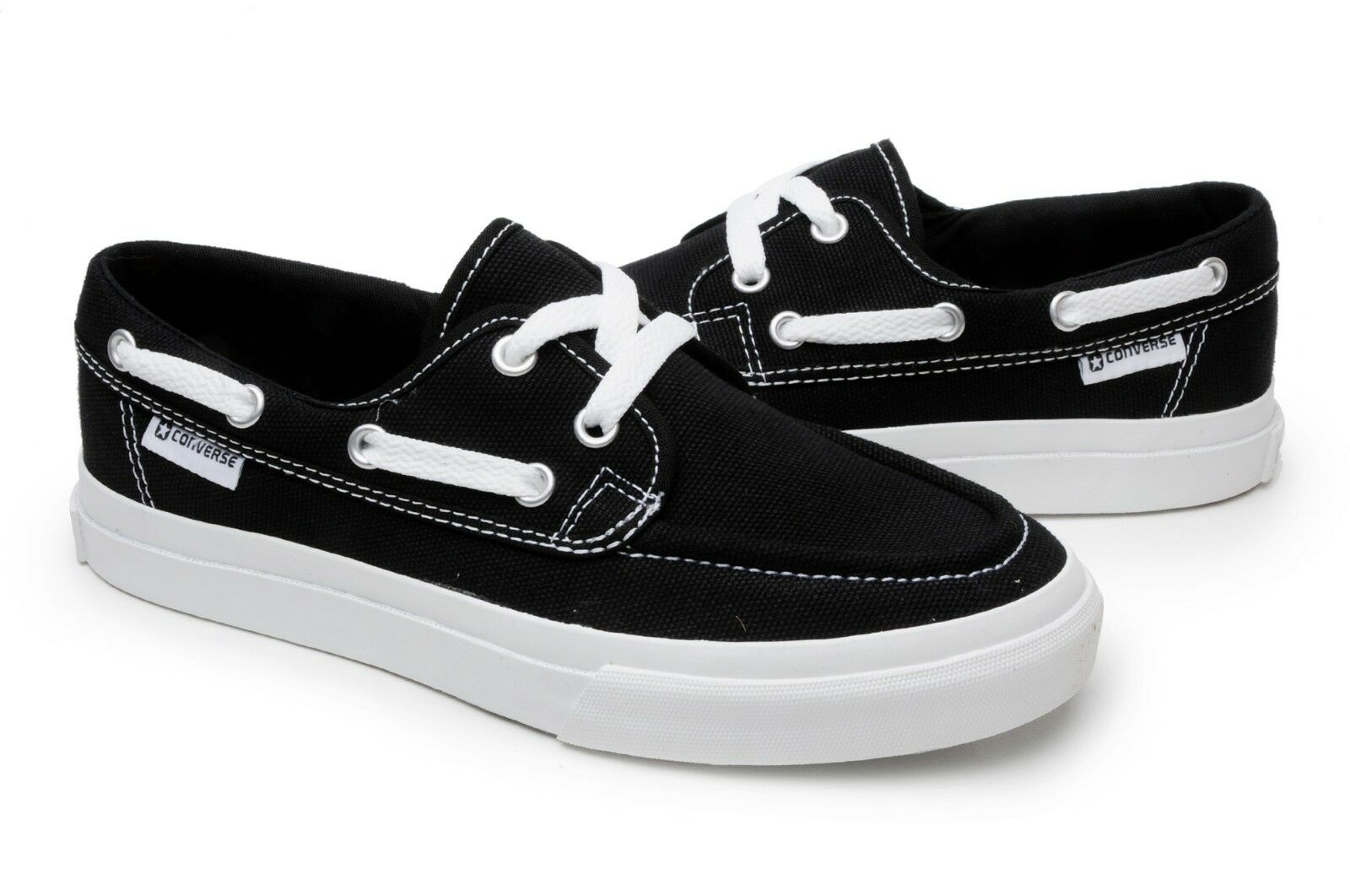 9f100d6cf3a7 Converse Sea Star Ox Womens Size 7 Black white Textile Boat Shoes