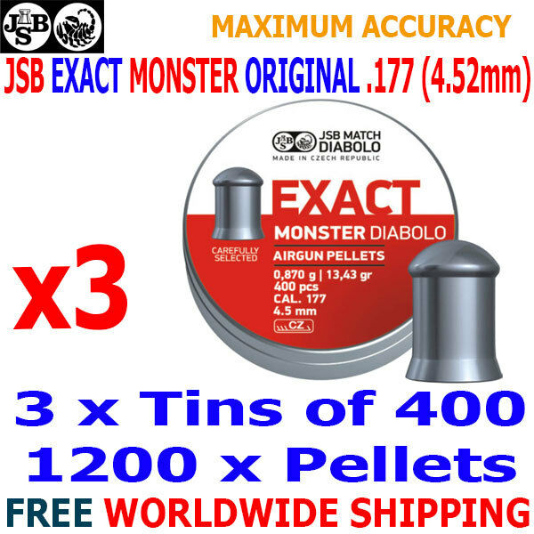 JSB exacta Monstruo Original .177 4.52 mm Airgun Pellets 3 (latas) x400 un.